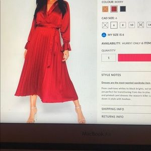 Satin Pleated Midi Dress